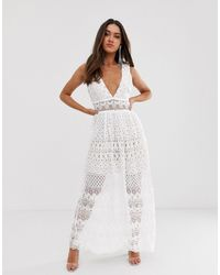 Love Triangle Plunge Front Delicate Lace Maxi Dress - White