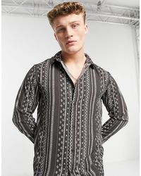 Another Influence Striped Printed Dobby Shirt - Black