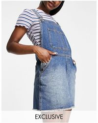 Reclaimed (vintage) Inspired Dungaree Denim Mini Skirt - Blue