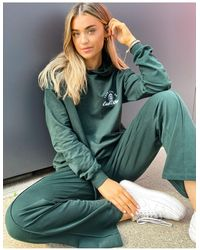 ASOS Tracksuit Oversized Hoodie / Straight Leg Joggers With Take Care Embroidery - Green