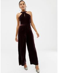 Oasis Jumpsuit With Twist Neck In Burgundy - Black