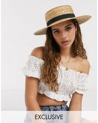 South Beach Exclusive Straw Boater Hat With Black Ribbon And Size Adjuster-beige - Natural