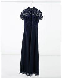 Chi Chi London High-neck Lace Maxi Dress - Blue
