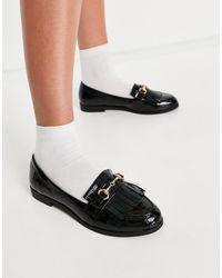 Miss Selfridge Patent Tassel Loafer - Black