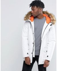 D-Struct Faux Fur Trimmed Parka Jacket - White