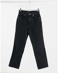 ASOS High Rise Stretch 'slim' Straight Leg Jeans - Black