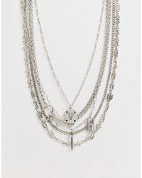 ASOS Confezione di collane multifilo con ciondoli argento - Metallizzato