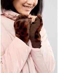 Vincent Pradier Fingerless Faux Fur Leopard Gloves - Brown