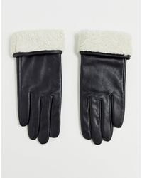 ASOS Leather Gloves With Touch Screen And Borg Trim In Black