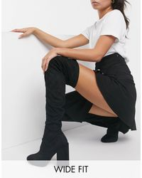 Raid Wide Fit Editta Over The Knee Boots With Block Heel - Black