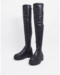 Mango High Leg Flat Boots - Black