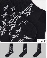 Reebok Набор Из 3 Пар Черных Носков С Логотипом -черный Цвет
