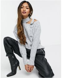 River Island Cold Shoulder Cable Knit Sweater - Gray