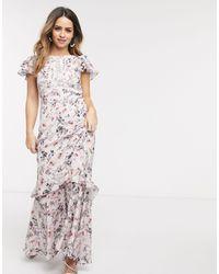 Forever New Платье Макси С Оборками И Цветочным Принтом -мульти - Многоцветный