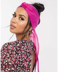 ASOS Sheer Organza Twist Front Headscarf - Pink