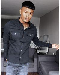 Liquor N Poker Muscle Fit Denim Shirt - Black