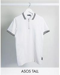ASOS Tall - Skinny Poloshirt Met Een Gekleurd Streepje, Rits En Geweven Label - Wit