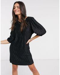Mango Self Print Dress - Black