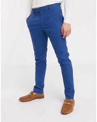 ASOS – Eng geschnittene Anzughose - Blau
