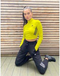adidas Originals Желтый Кроп-топ С Длинными Рукавами И Тремя Полосками Adidas Training