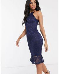 AX Paris - Кружевное Платье Миди -темно-синий - Lyst