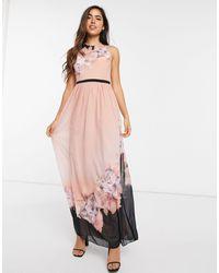 Little Mistress Персиковое Платье Макси С Цветочным Принтом -розовый Цвет