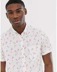 J.Crew Mercantile Short Sleeve Flex Washed Flamingo Print Shirt - White
