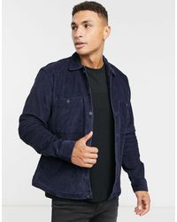 SELECTED Cord Overshirt - Blue