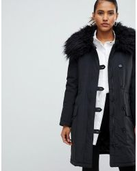 French Connection Utility Parka Coat With Fur Neck - Black