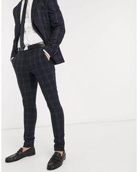 SELECTED Skinny Geruite Pantalon - Blauw