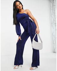 AX Paris One Shoulder Jumpsuit - Blue