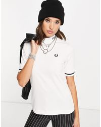 Fred Perry T-shirt à col montant griffé - Blanc