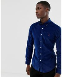 Polo Ralph Lauren Chemise ajustée en velours côtelé avec col boutonné - Bleu marine