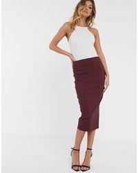 ASOS Falda de tubo larga con cintura alta de -Rojo