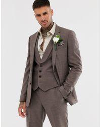 ASOS – Enge Hochzeitsanzugsjacke aus sanftbraunem Twill