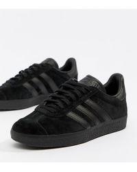 Lyst adidas Originals Gazelle formadores en Triple negro in Black
