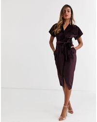 Closet Сливовое Бархатное Платье Миди С Запахом И Поясом -фиолетовый - Многоцветный
