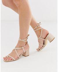 Truffle Collection - Toe Loop Tie Leg Heeled Sandals - Lyst