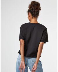 Miss Selfridge T-shirt en tissu bio à manches courtes - Noir
