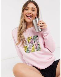 Daisy Street Sweat-shirt oversize à imprimé cartes - Rose