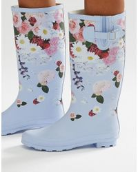 ASOS Garden Floral Wellies - Blue