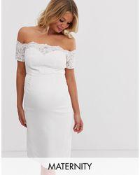 Chi Chi London Crochet Lace Midi Dress With Bardot Sleeve - White