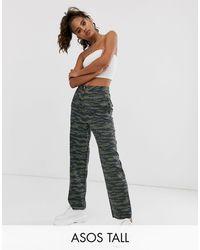 ASOS ASOS DESIGN Tall - Pantaloni mimetici dritti con fondo grezzo - Multicolore