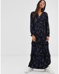 ONLY Pleated Maxi Dress In Floral Print - Blue