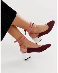 ASOS Steps Tie Leg Mid Heels - Multicolour