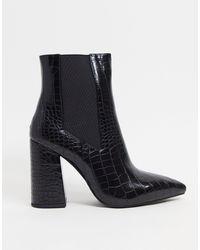 SIMMI Shoes Ботильоны На Блочном Каблуке Черного Цвета С Эффектом Крокодиловой Кожи Simmi London Joyce-черный Цвет