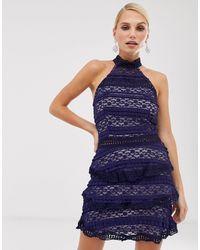 AX Paris - Кружевное Короткое Приталенное Платье -темно-синий - Lyst