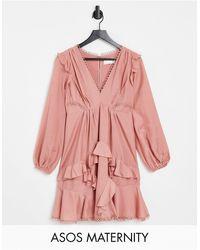 ASOS Платье Мини Из Вуали С Длинными Рукавами И Отделкой Воланами - Розовый