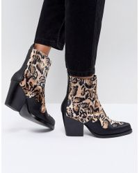 PrettyLittleThing Leopard Print Western Ankle Boot - Multicolor