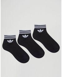 adidas Originals - 3 Pack Black Ankle Socks With Trefoil Logo - Lyst